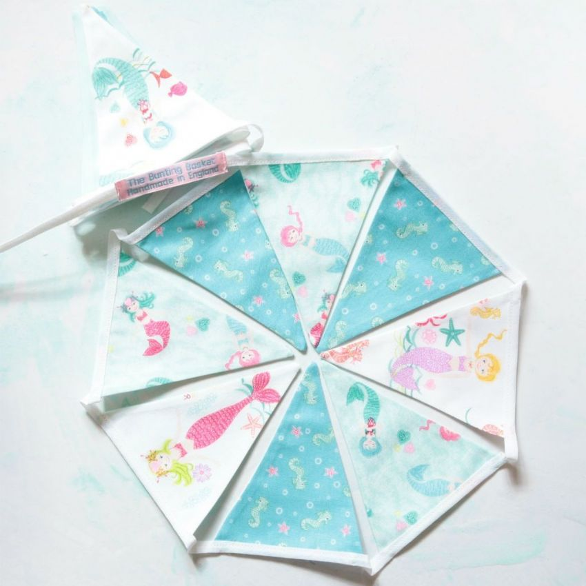 Mermaids with Seahorses Cotton Mini Bunting (Inc P&P) with 14 Flags